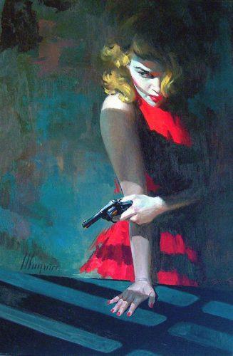 Woman holds gun in shadows
