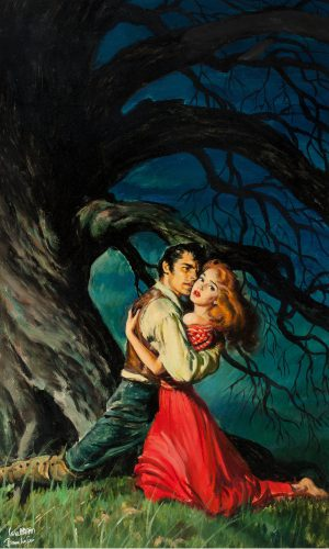 Heathcliff and Catherine cling to each other under a tree