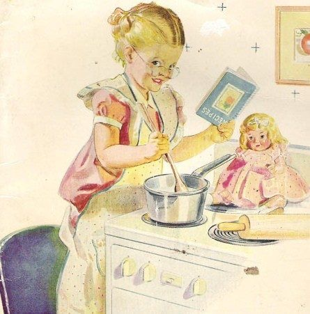 A little girl pretends to cook