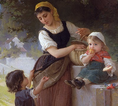 Girl, Two Kids And Basket