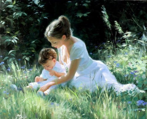 0mother And Child Read In Grass
