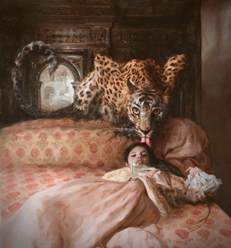 Little Girl And Leopard